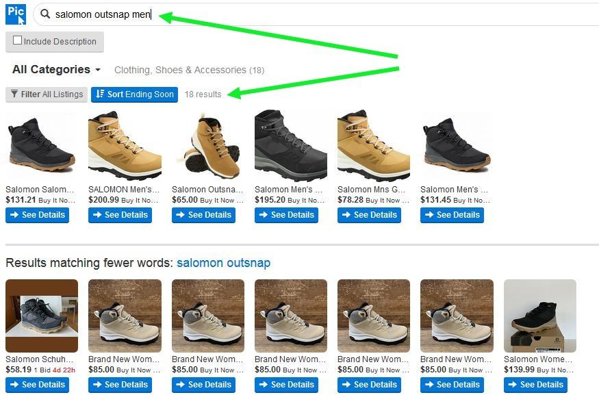 Поиск по ebay с лучшей визуализацией с помощью сервиса Picclick.