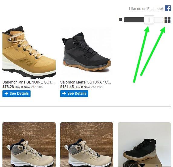 Поиск по ebay с лучшей визуализацией с помощью сервиса Picclick. Настройка размера превью.